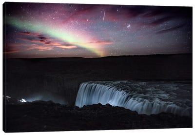 Aurora Borealis, Shooting Star, Rising Moon Canvas Art Print
