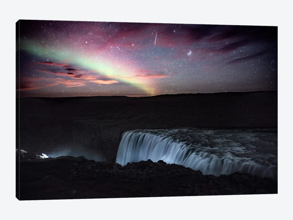 Aurora Borealis, Shooting Star, Rising Moon by Luke Anthony Gram 1-piece Canvas Art