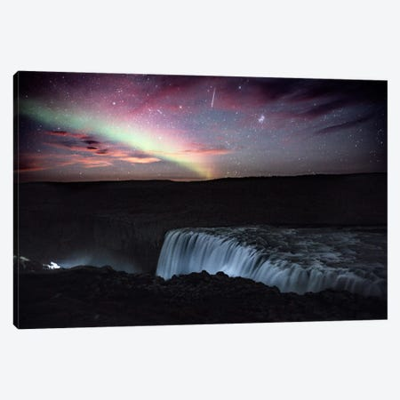 Aurora Borealis, Shooting Star, Rising Moon Canvas Print #GRM13} by Luke Anthony Gram Canvas Art Print