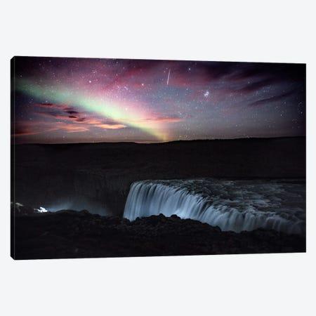 Aurora Borealis, Shooting Star, Rising Moon Canvas Print #GRM13} by Luke Anthony Gram Canvas Art Print