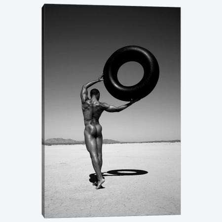 Ramel With Tire Canvas Print #GRP36} by Gregory Prescott Art Print