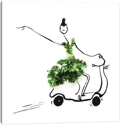 Kale Scooter Canvas Art Print