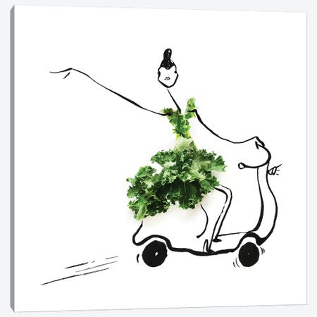 Kale Scooter Canvas Print #GRR103} by Gretchen Roehrs Canvas Artwork