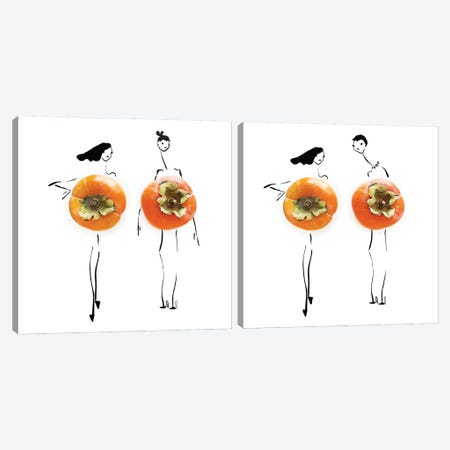 Persimmon Diptych Canvas Print Set #GRR2HSET001} by Gretchen Roehrs Canvas Wall Art