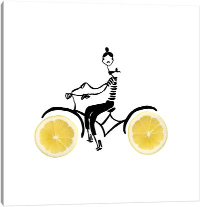 Lemon Cycle Canvas Art Print
