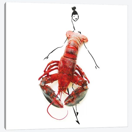 Lobster Canvas Print #GRR59} by Gretchen Roehrs Canvas Wall Art