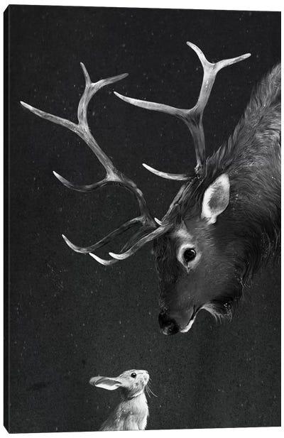 Elk & Rabbit Canvas Art Print