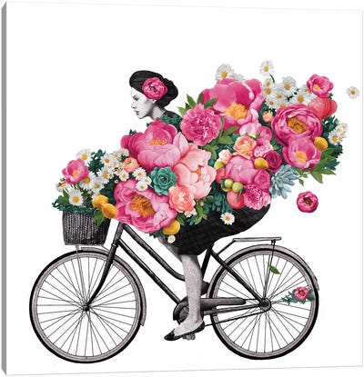 Floral Bicycle Canvas Art Print