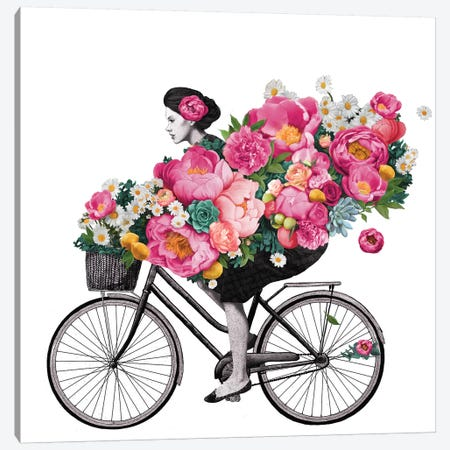 Floral Bicycle Canvas Print #GRV13} by Laura Graves Canvas Artwork