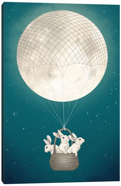 Moon Bunnies Canvas Art Print