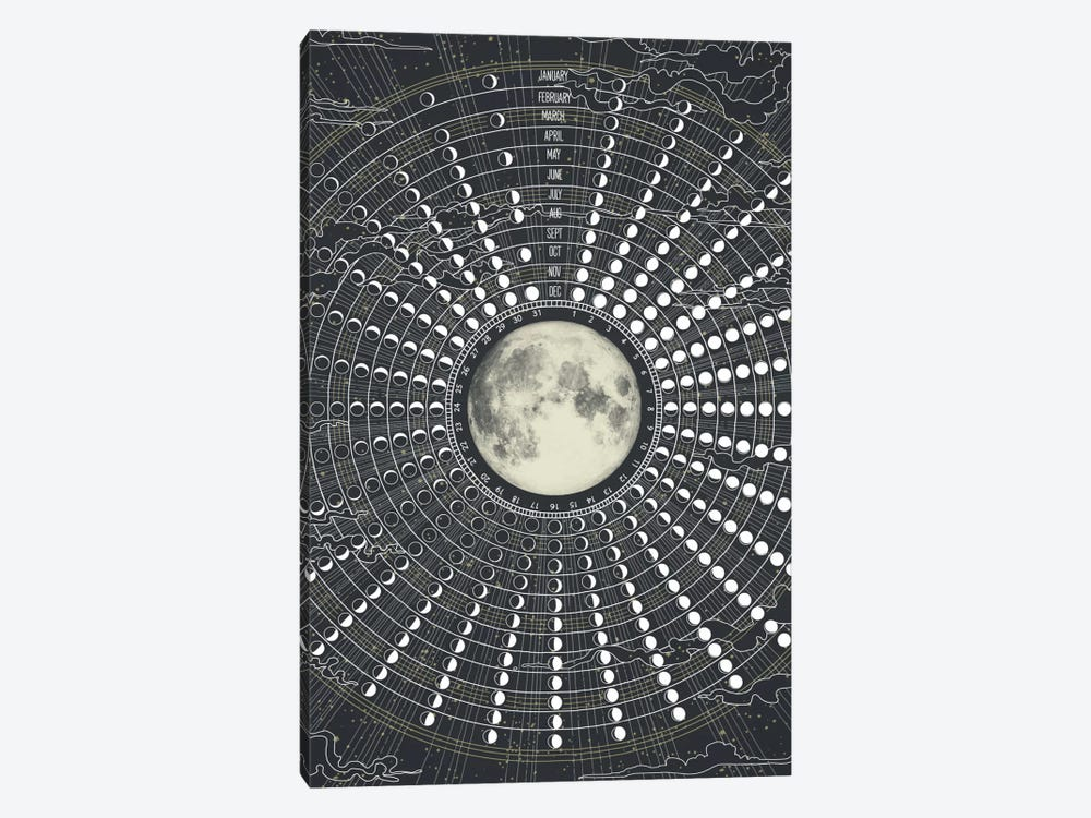 Phases Of The Moon 2017 by Laura Graves 1-piece Canvas Wall Art