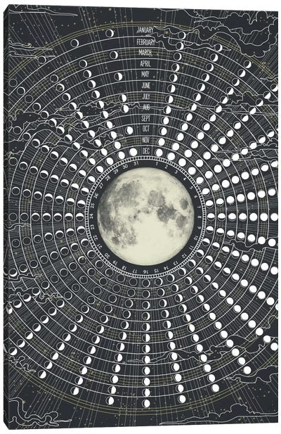 Phases Of The Moon 2017 Canvas Art Print