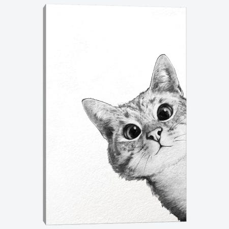 Sneaky Cat Canvas Print #GRV31} by Laura Graves Canvas Art