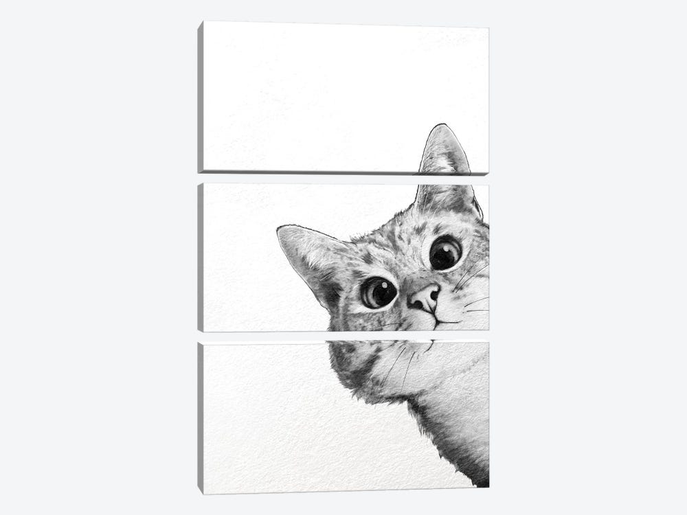 Sneaky Cat by Laura Graves 3-piece Canvas Wall Art