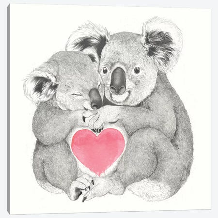 Koalas Love Hugs Canvas Print #GRV50} by Laura Graves Canvas Wall Art