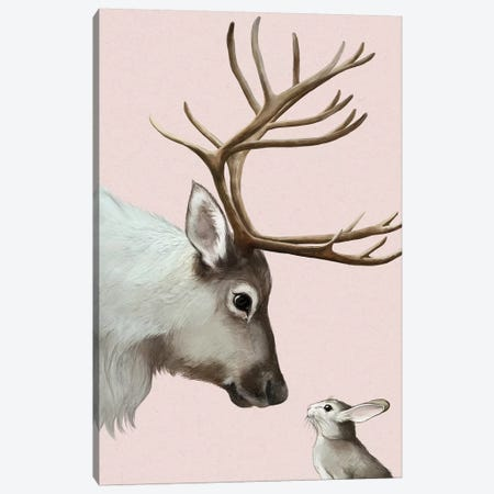Reindeer & Rabbit Canvas Print #GRV54} by Laura Graves Art Print