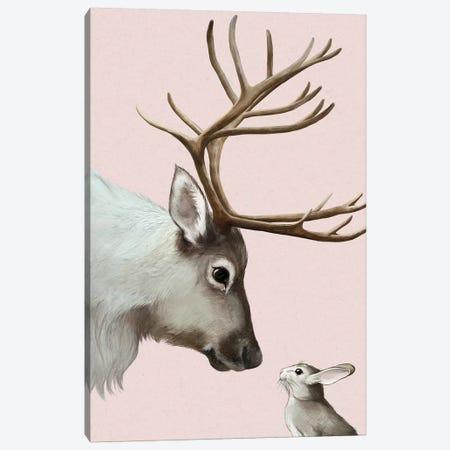 Reindeer & Rabbit Canvas Print #GRV54} by Laura Graves Art Print