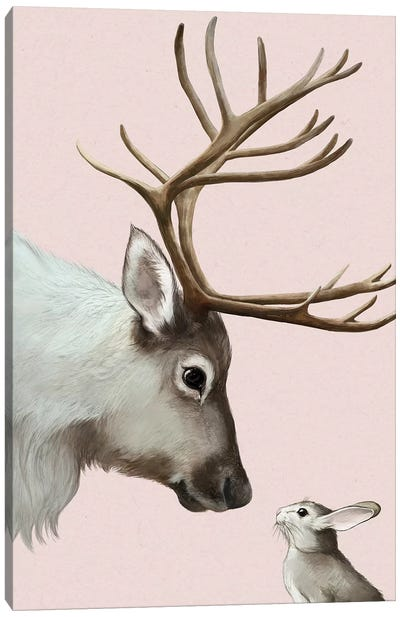 Reindeer & Rabbit Canvas Art Print