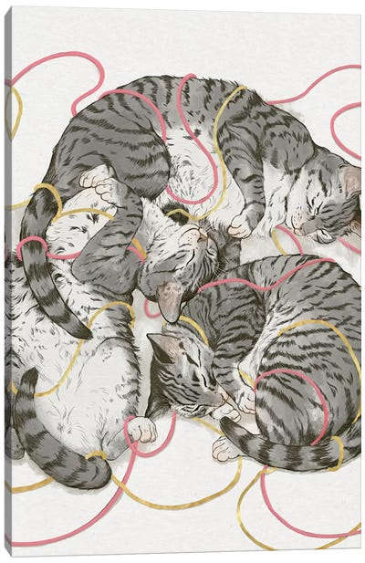 Cats In Rose Gold Canvas Art Print