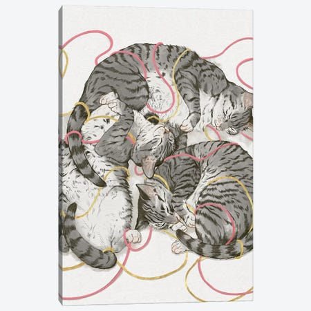 Cats In Rose Gold 3-Piece Canvas #GRV8} by Laura Graves Canvas Print