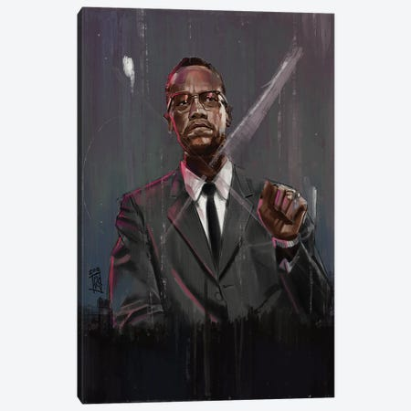 Malcolm X Canvas Print #GRW23} by Gordon Rowe Canvas Artwork