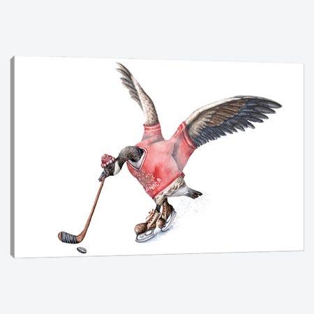 Hockey Canada Goose Canvas Print #GSI10} by Goosi Canvas Wall Art