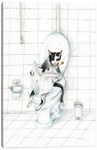 Cat Reading Newspaper On The Toilet Canvas Art Print