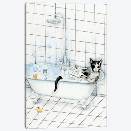 Cat Reading Newspaper In The Bathtub Canvas Print #GSI12} by Goosi Canvas Artwork