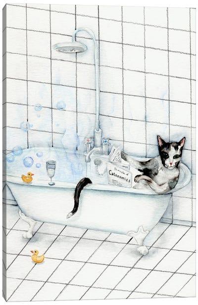 Cat Reading Newspaper In The Bathtub Canvas Art Print
