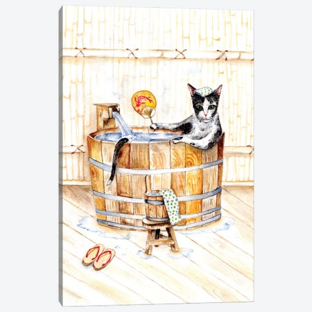 Cat In Japanese Bath Onsen Canvas Print #GSI13} by Goosi Canvas Artwork