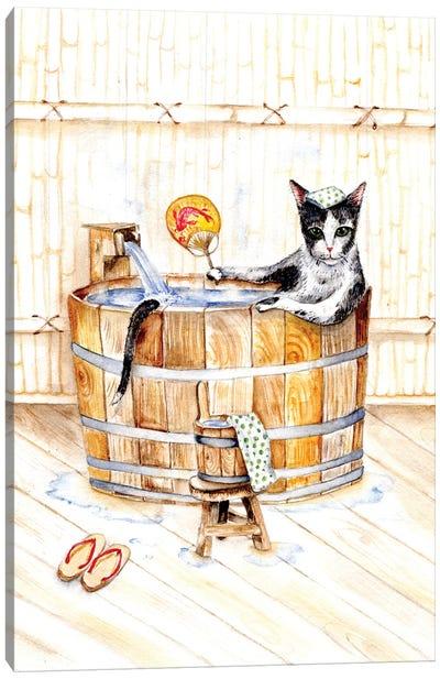 Cat In Japanese Bath Onsen Canvas Art Print