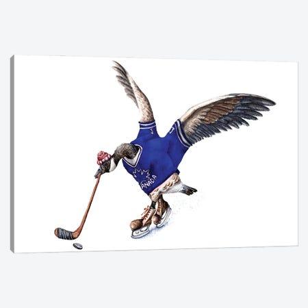 Hockey Canada Goose - Blue Jersey Canvas Print #GSI14} by Goosi Canvas Print