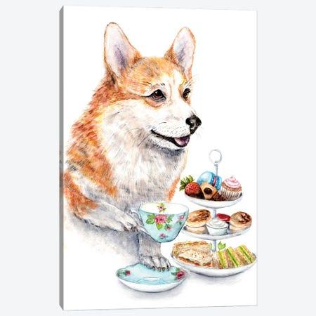 Corgi Drinking High Afternoon Tea Canvas Print #GSI18} by Goosi Canvas Art