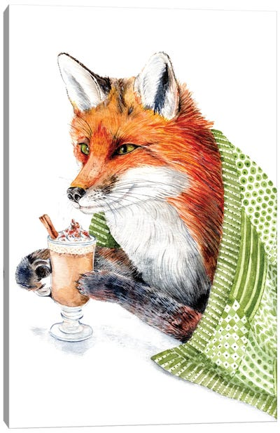 Cozy Fox Drinking Pumpkin Spice Latte Canvas Art Print