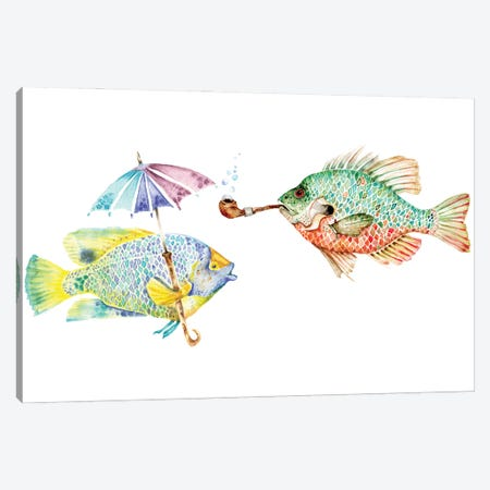 Fishes - Two Fish Canvas Print #GSI22} by Goosi Canvas Print