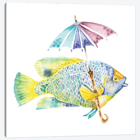 Yellow Mask Angel Fish With Umbrella Canvas Print #GSI23} by Goosi Art Print