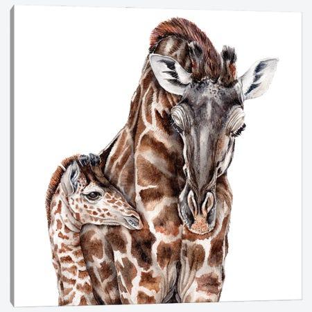 Giraffe With Baby Giraffe Canvas Print #GSI27} by Goosi Canvas Art