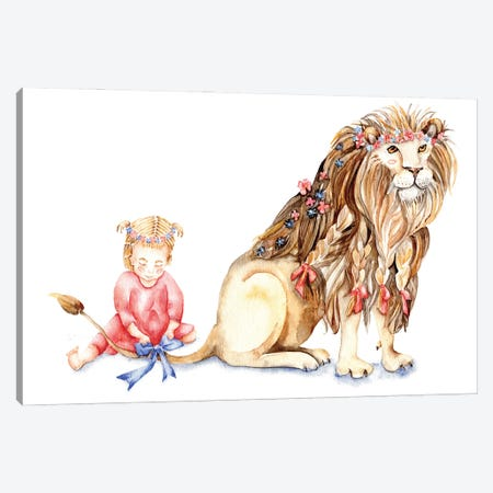 Girl With Her Lion Canvas Print #GSI28} by Goosi Art Print