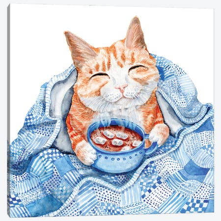 Happy Cat Drinking Hot Chocolate Under Blue Quilt Canvas Print #GSI29} by Goosi Canvas Art Print