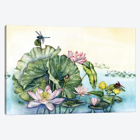 Japanese Water Lilies And Lotus Flowers Canvas Print #GSI33} by Goosi Canvas Art