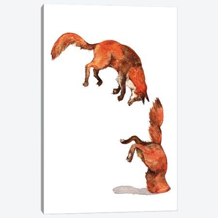 Jumping Red Fox Canvas Print #GSI35} by Goosi Art Print