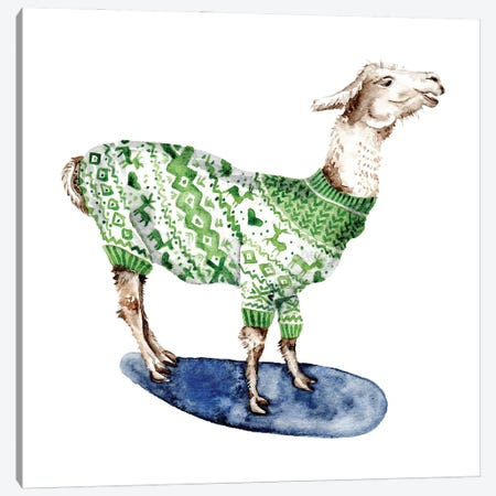 Llama In Green Sweater Canvas Print #GSI39} by Goosi Canvas Art