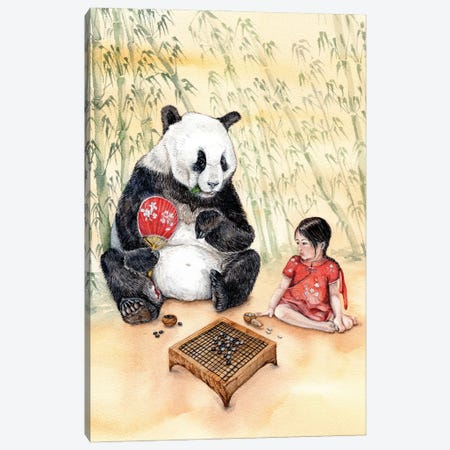 Playing Go With Panda Canvas Print #GSI40} by Goosi Canvas Art Print