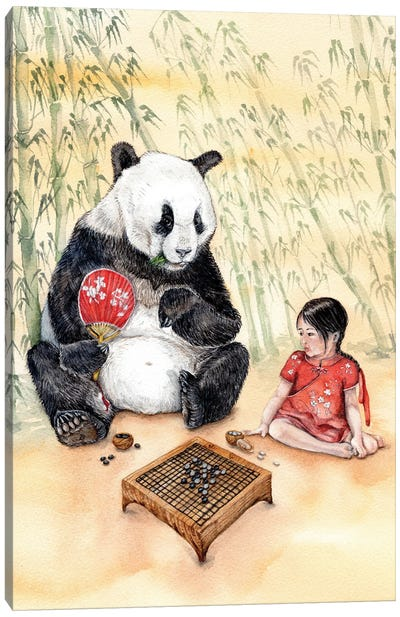 Playing Go With Panda Canvas Art Print