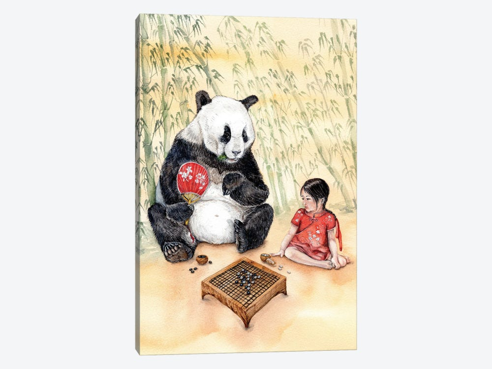 Playing Go With Panda by Goosi 1-piece Canvas Print