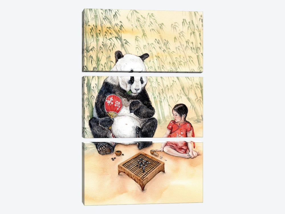 Playing Go With Panda by Goosi 3-piece Art Print