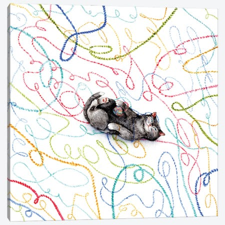 Playful Kitten With A Colorful Yarn Ball Canvas Print #GSI47} by Goosi Canvas Wall Art