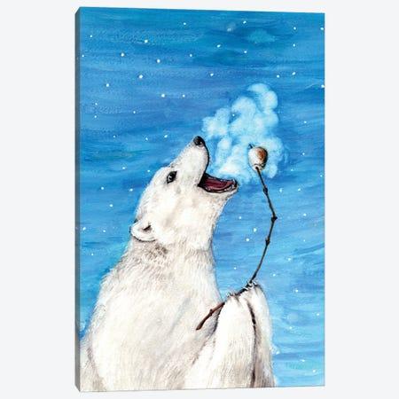 Polar Bear With Toasted Marshmallow Canvas Print #GSI48} by Goosi Canvas Print