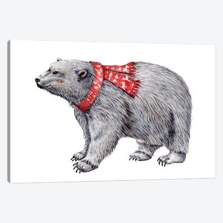 Polar Bear In Red Scarf Canvas Print #GSI49} by Goosi Canvas Print
