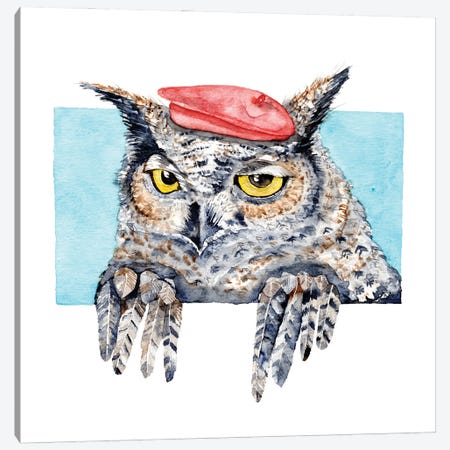 Serious Horned Owl In Red Beret Canvas Print #GSI54} by Goosi Art Print